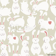 Seamless pattern with cute white rabbits