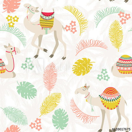Seamless pattern with camels and palms