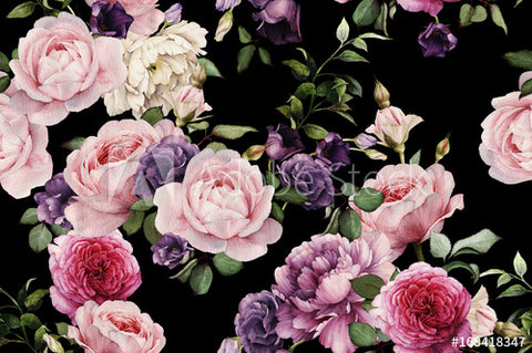 Seamless floral pattern with roses in watercolor