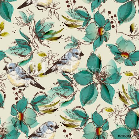 Seamless pattern cute flowers and birds print