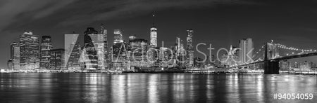Black and white New York City at night