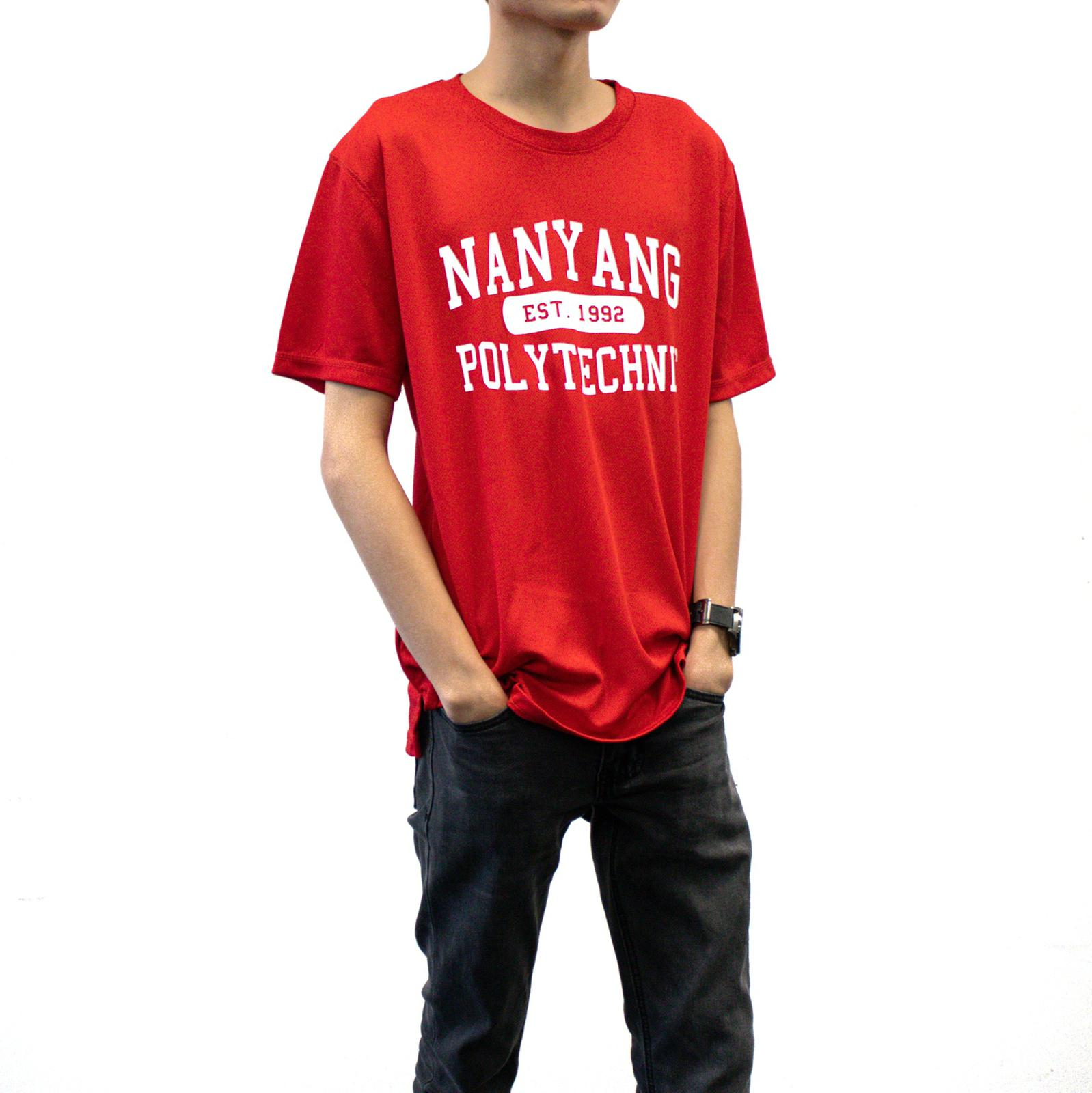 NYP DRI-FIT TEE RED WITH WHITE FONTS