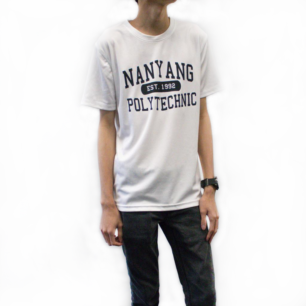 NYP DRI-FIT TEE WHITE WITH BLACK FONTS