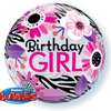 "22"" Birthday Girl Floral Zebra Stripes Balloon - D'Studio"