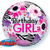 "22"" Birthday Girl Floral Zebra Stripes Balloon"