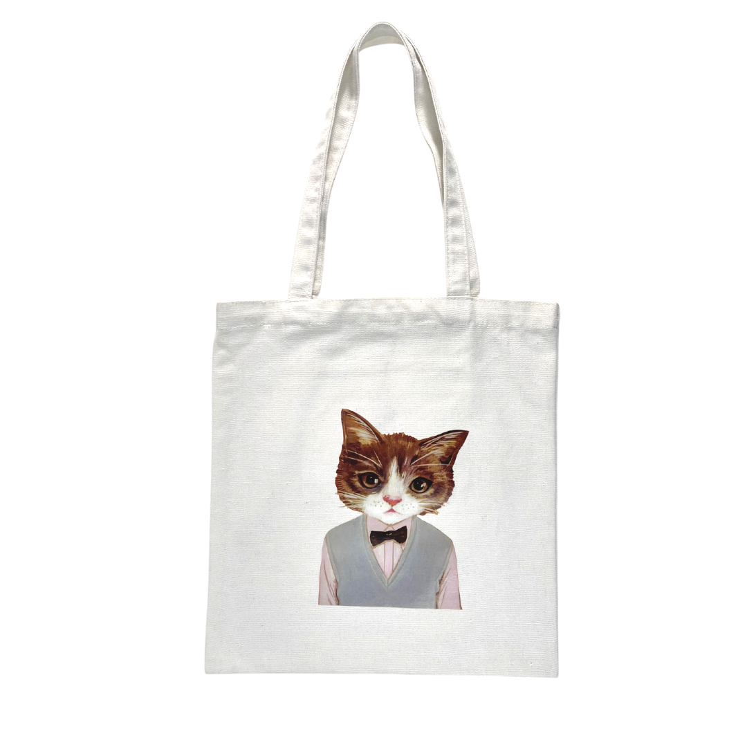 Cat Bow Tie Tote Bag (White)