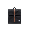 HERSCHEL CITY MID-VOLUME BACKPACK BLACK TAN/SYNTHETIC LEATHER