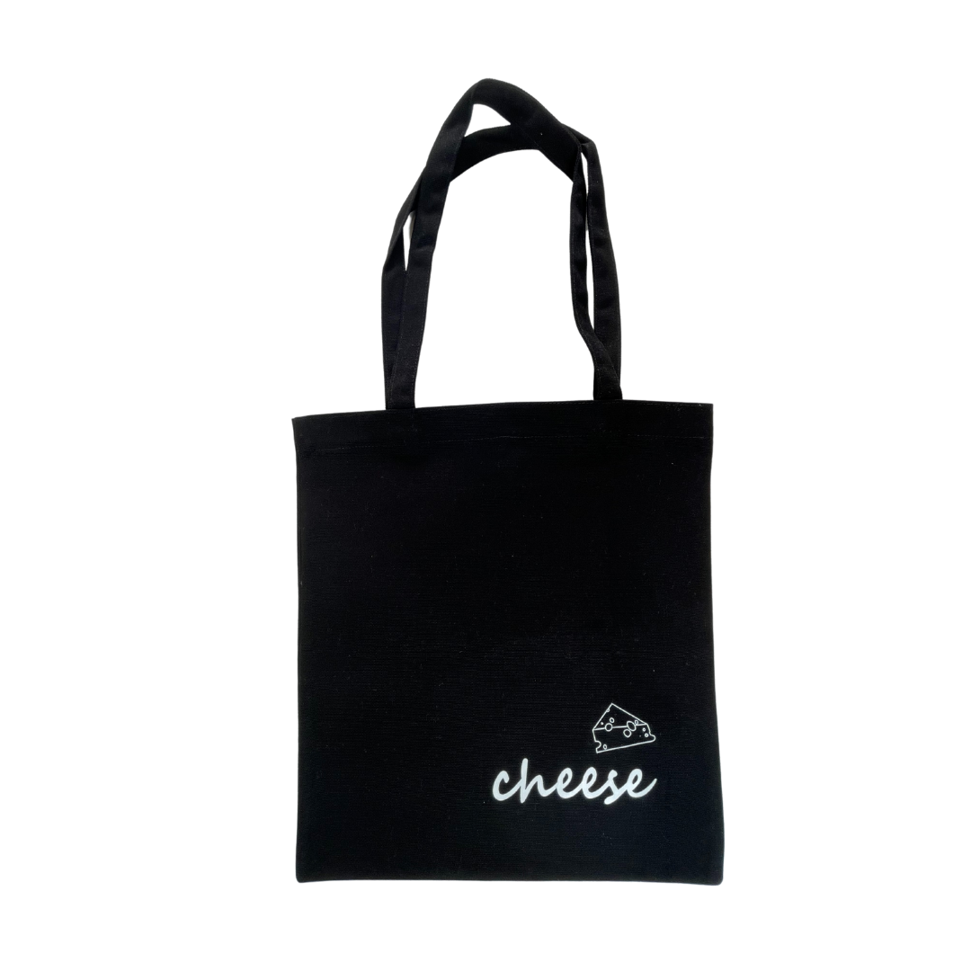 Cheese Black Tote Bag