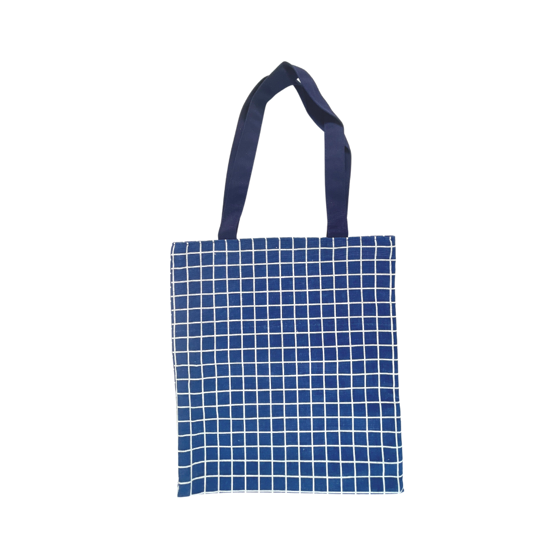 Blue Checkered Tote Bag