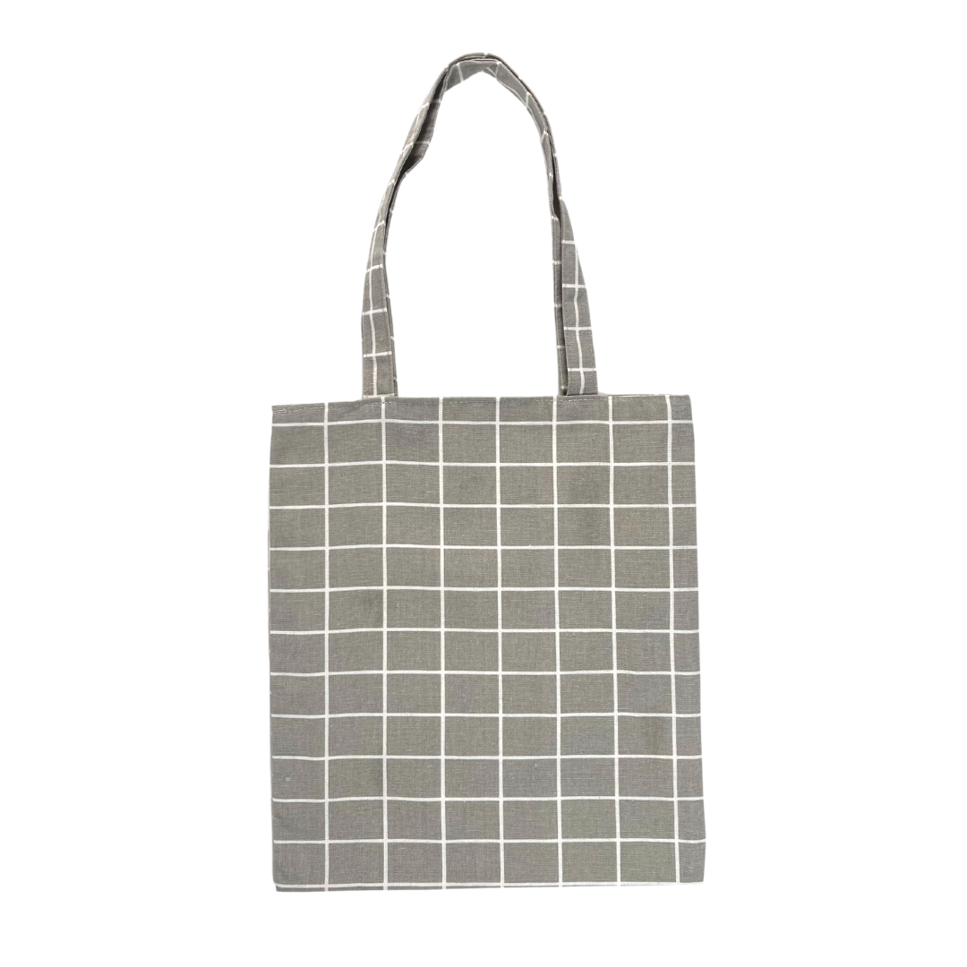 GRID GREY TOTE BAG