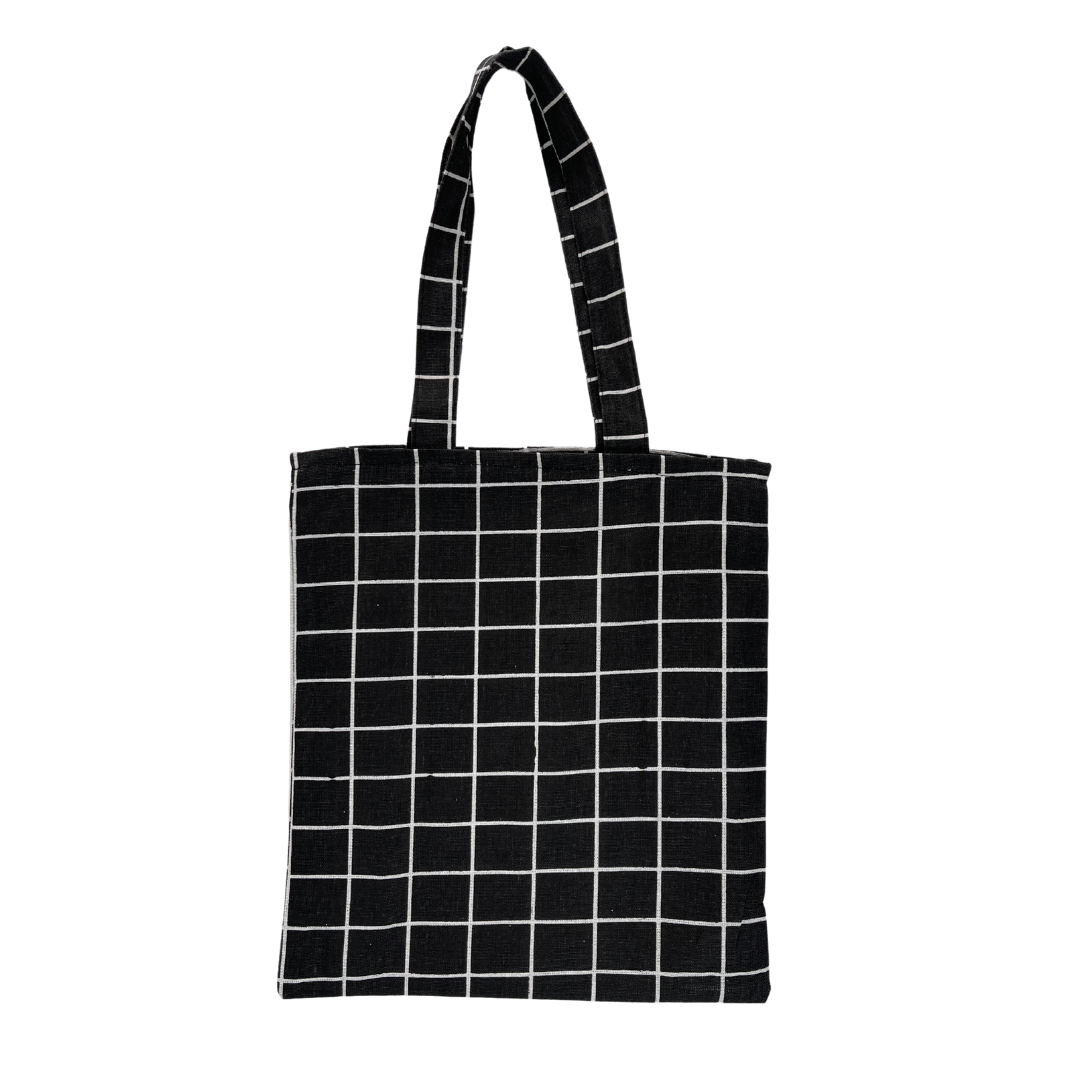 GRID BLACK TOTE BAG