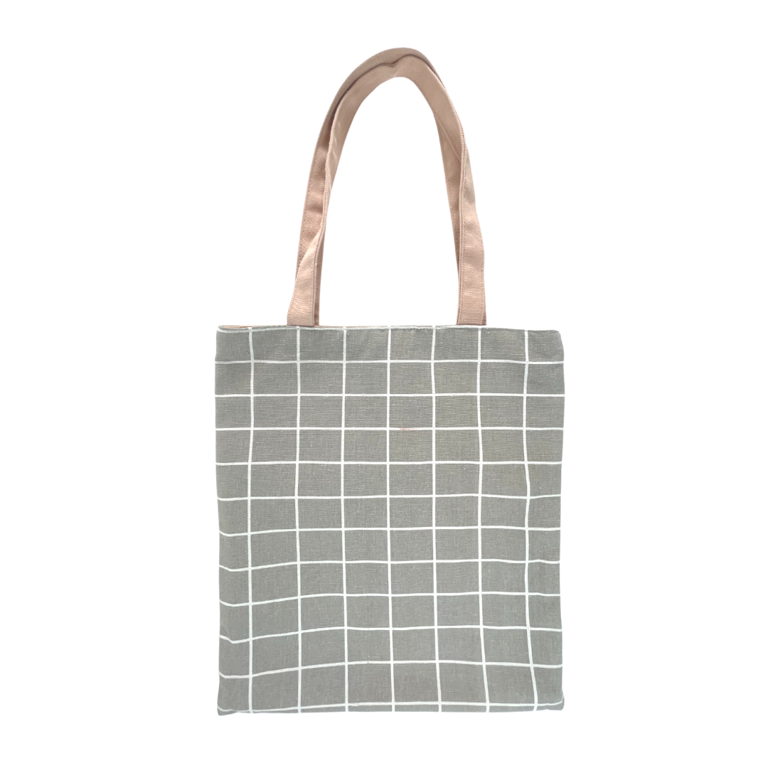 Grey Grid Tote Bag (with beige handle)