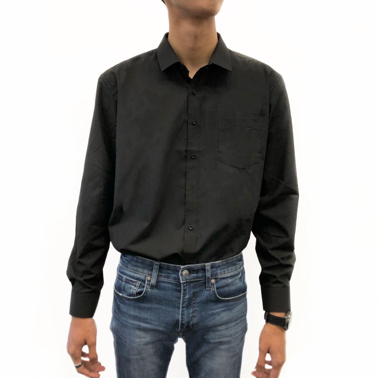 Twill Finishing formal blouse (Black)