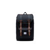 HERSCHEL LITTLE AMERICA MID-VOLUME BACKPACK BLACK/TAN SYNTHETIC LEATHER - D'Studio