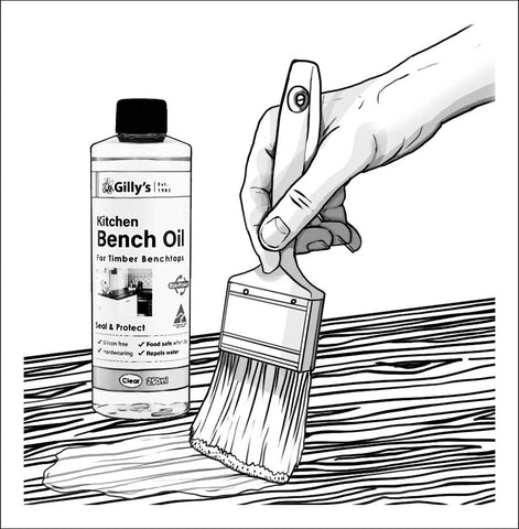 Brushing on Gilly's Kitchen Bench Oil