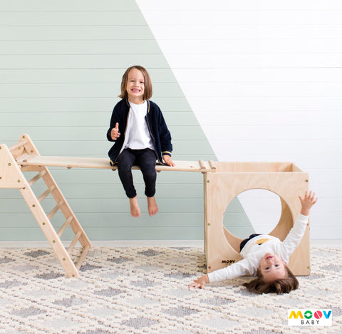 Children Playing on Timber Equipment by Moovbaby