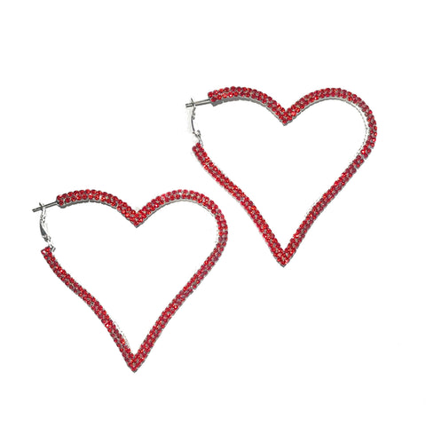 Red Hot Heart-Large hoops
