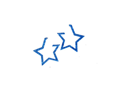 The Prettiest Star Hoop Earrings- Blue