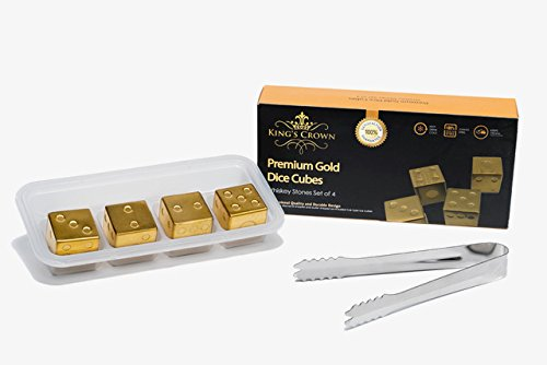 Whiskey Stones Gift Set – Gold Plated Reusable Ice Cubes for Whiskey, Wine, and Other Drinks– Four Whiskey Stones with Tray and Tongs by Daily Impact