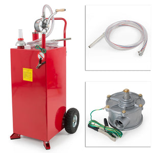 30 Gallon Gas Caddy Tank Storage Drum Gasoline Diesel Fuel Transfer Wired Hose