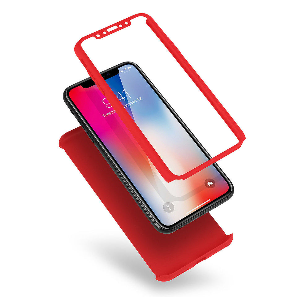 Supreme iPhone X 6s 7 8 Plus 360 Full Protection Hard Case Cover +Tempered Glass