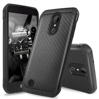 For LG Aristo 2/Aristo/Fortune Slim Carbon Fiber Shockproof TPU Armor Case Cover