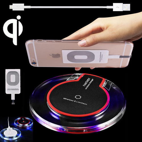 Clear Qi Wireless Fast Charger Dock Charging Pad+Receiver F iPhone 5/6/6s/7 Plus