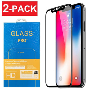 2-Pack Full Coverage 3D Tempered Glass Screen Protector for iPhone X Xs Max XR