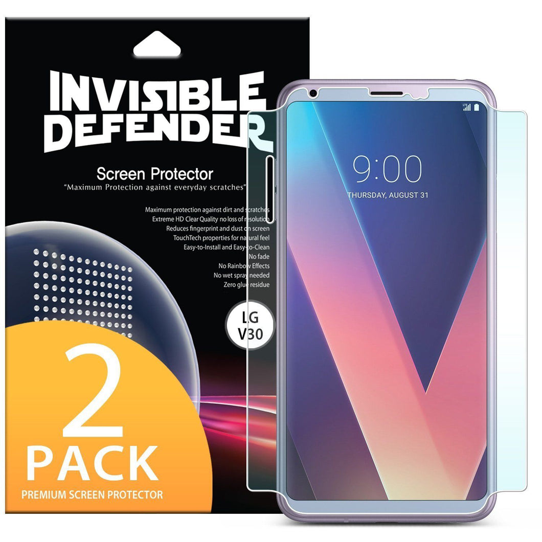 LG V30 Screen Protector | [Invisible Defender] ID FULL COVERAGE [2 PACK]