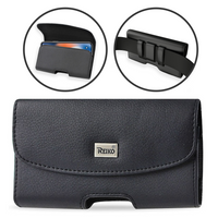 REIKO Leather Horizontal Pouch Holster Sideways Belt Clip Case for ZTE Phones