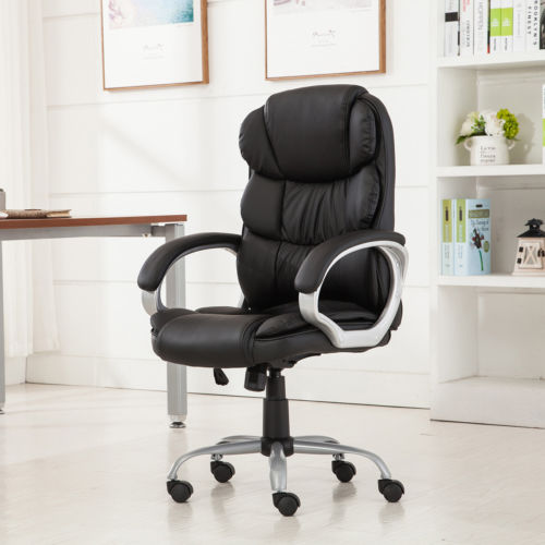 High Back PU Leather Executive Office Desk Task Computer boss luxury Chair Black