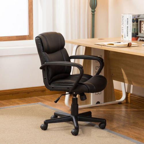 Ergonomic PU Leather Mid-Back Executive Computer Desk Task Office Chair, Black