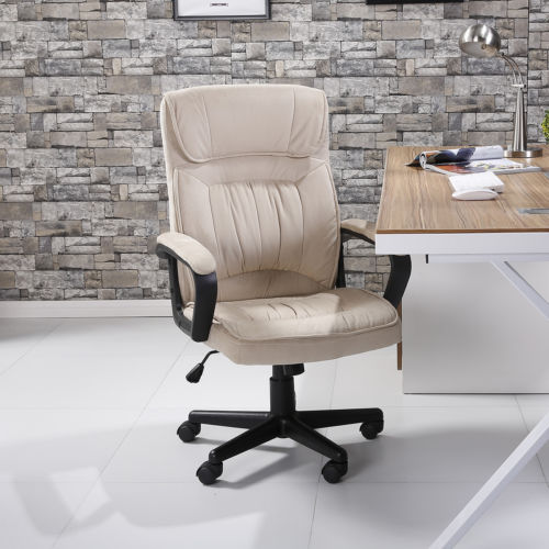 Executive Chair Office Seat Computer Desk Ergonomic Padded Microfiber, Beige