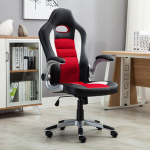Office Chair Ergonomic Computer PU Leather Desk Seat Race Car Bucket Style Red