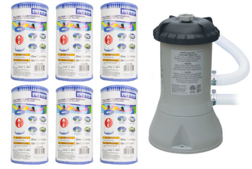 Intex 1000 GPH Easy Set Pool Filter Pump w/GFCI & 6 Type A Filter Cartridges