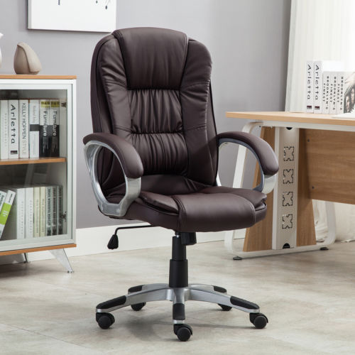 Executive High Back PU Leather Computer Desk Ergonomic Task Office Chair Brown
