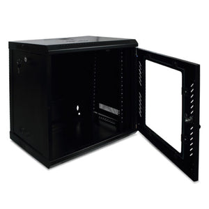 9U Server Cabinet Glass Locking Door w/ Key Wall Mount Network Rack (Black)