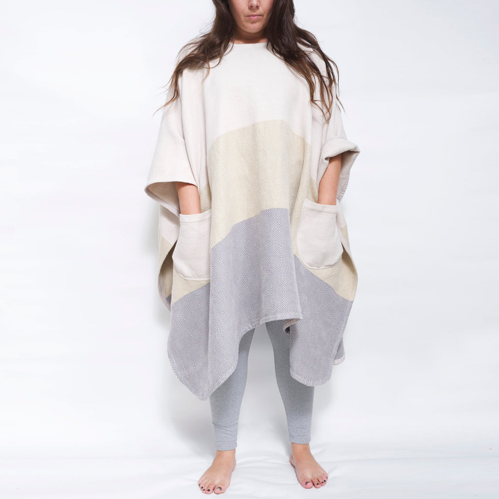 Meditation Blanket / Shawl - Cream Straw Grey Stripe