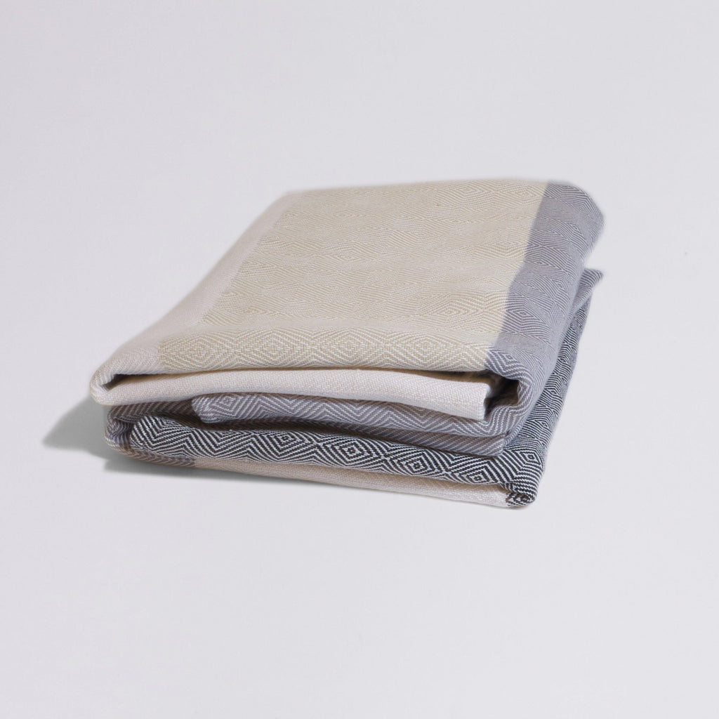 Meditation Blanket / Shawl - Cream Straw Grey Stripe-project full
