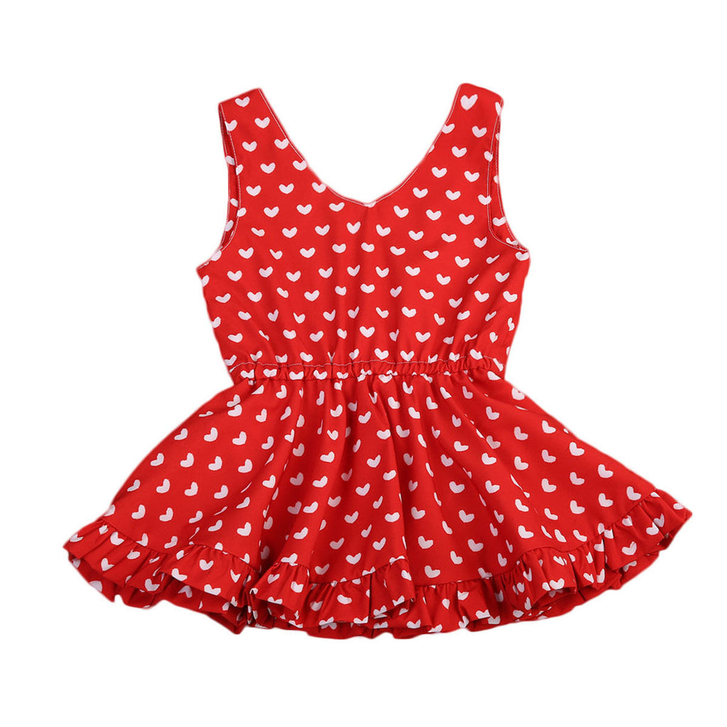 Heart Print Ruffle Dress - Available in 2 Colors