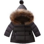 Faux Fur Hooded Puffer - Black