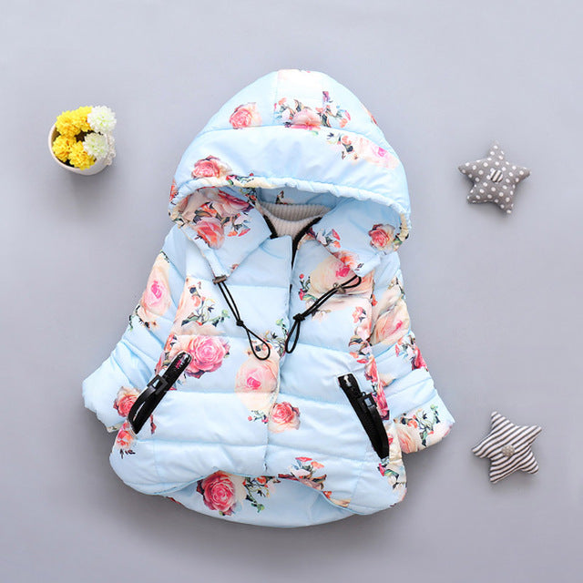 Floral Winter Jacket - Baby Blue