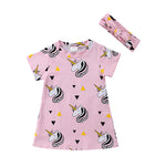 Unicorn Print Dress - Matching headband
