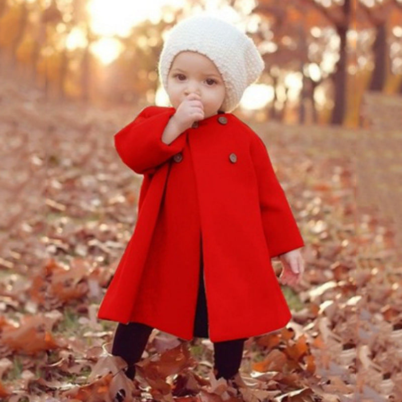 Wool Swing Coat - Red