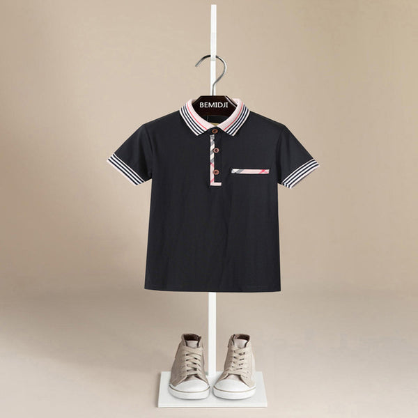 Plaid Trim Polo - Black