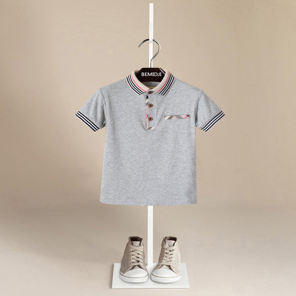 Plaid Trim Polo - Grey