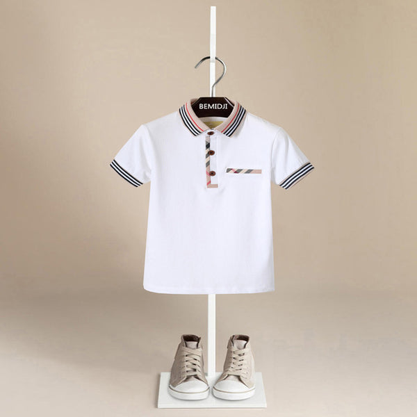 Plaid Trim Polo - White