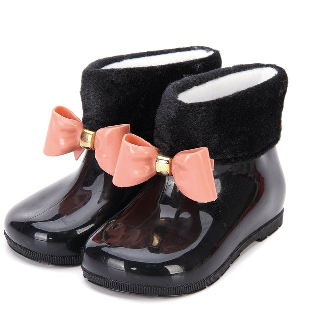 Faux Fur Rain Boot - Black