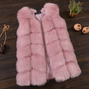 Faux Fur Ribbed Vest - Pink