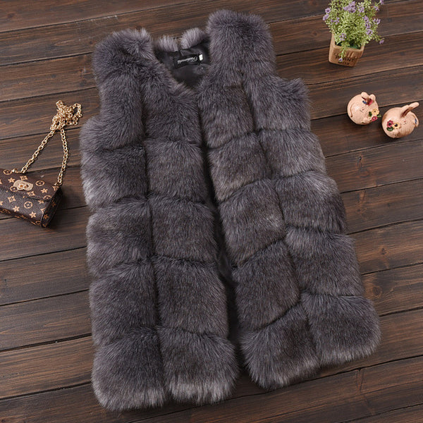 Faux Fur Ribbed Vest - Grey